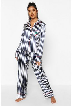 Womens Navy Stripe Satin Pocket Embroidered PJ Set