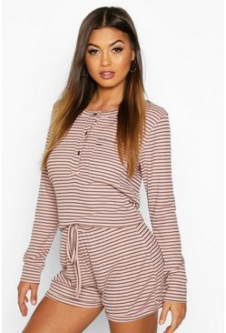 Womens Pink Stripe Rib Button Through PJ Set