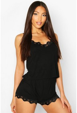 Black Lace Trim Soft Jersey PJ Set