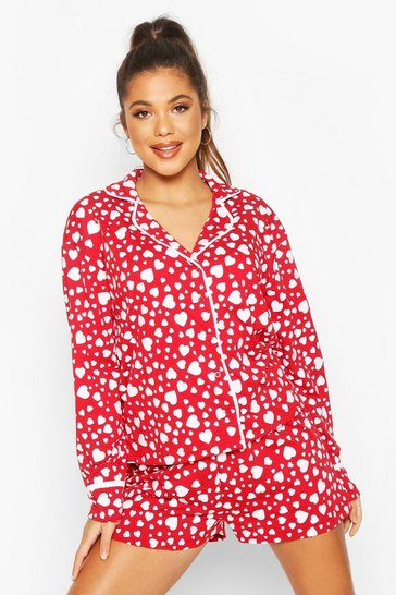 Womens Red Heart Print Jersey Button Through PJ Shorts Set