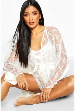 Womens Ivory Lace Trim Bridal Robe
