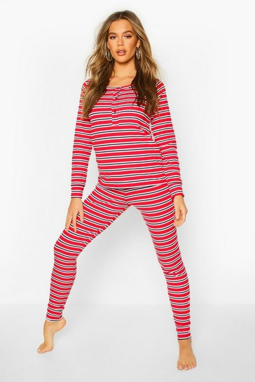 Womens Red Stripe Rib 3 Piece PJ Set