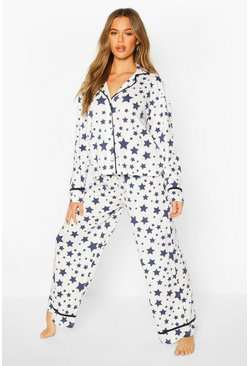 Womens Cream Star Print Jersey Button Through PJ Set