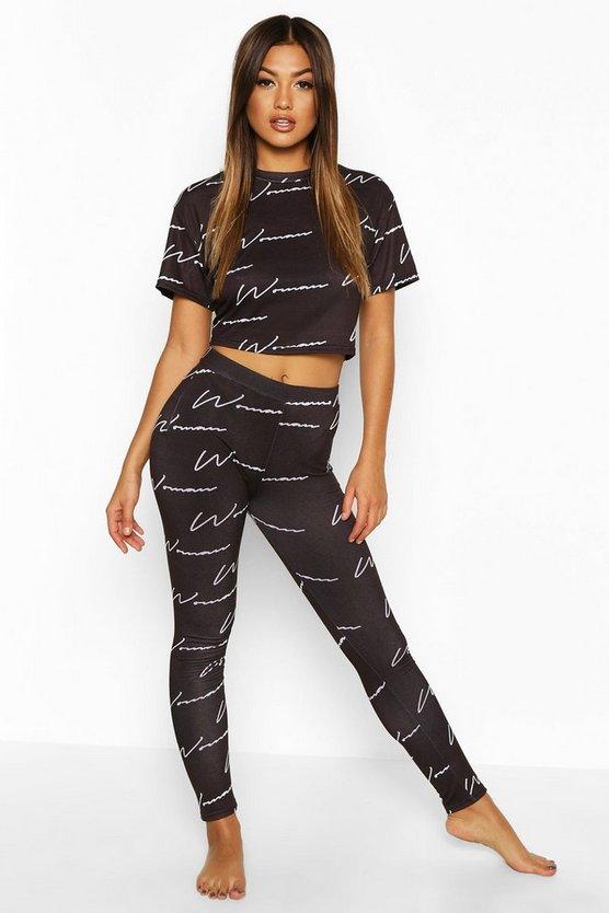 Woman Script Crop & Leggings Pyjama Set