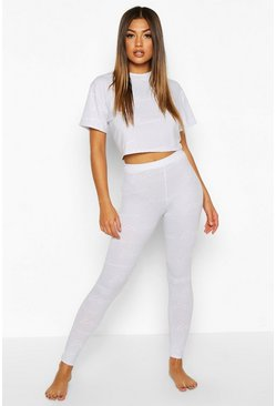 Slate Woman Script Crop & Leggings Pyjama Set