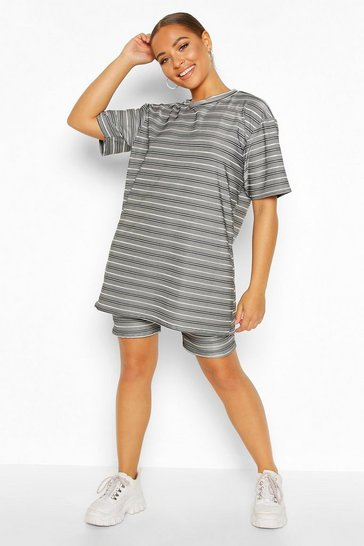 Womens Grey Stripe Lounge Oversized Rib T-shirt & Cycling Short