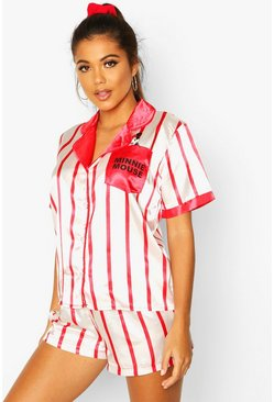 Womens Red Disney Minnie Mouse 3 Piece Satin Stripe PJ Set