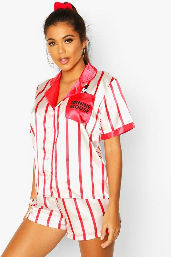 Disney Minnie Mouse 3 Piece Satin Stripe PJ Set
