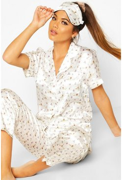 Womens Cream Disney Lion King Satin 3 Piece PJ Set