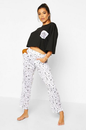 Black Disney Dalmation Print Short Sleeve PJ Set