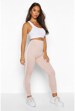 Womens Stone Side Stripe Soft Legging