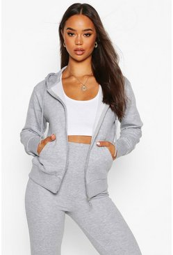 Womens Grey marl Basic Soft Mix & Match Zip Through Hoodie