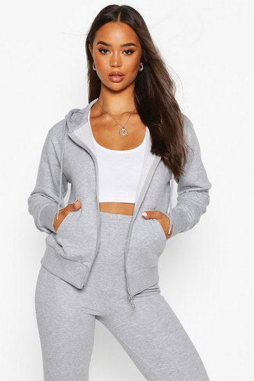 Grey marl Basic Soft Mix & Match Zip Through Hoodie