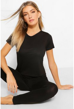 Womens Black Basic T-shirt & Legging Soft Jersey PJ Set