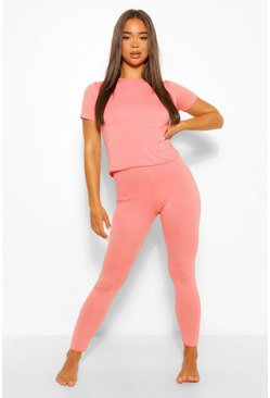 Set pigiama basic in morbido jersey con t-shirt e leggings, Cipria