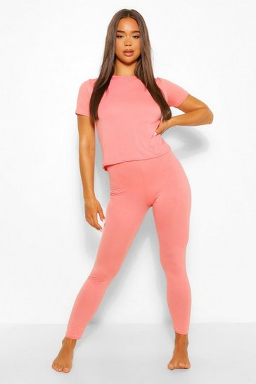 Blush Basic T-shirt & Legging Soft Jersey PJ Set