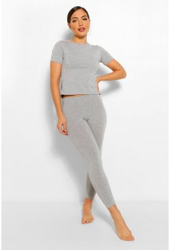 Grey marl Basic T-shirt & Legging Soft Jersey PJ Set