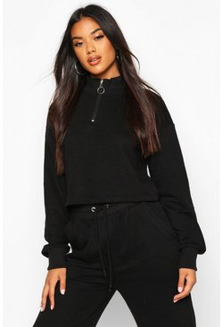 Womens Black Zip Detail Funnel Neck Lounge Sweat