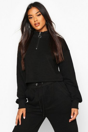 Black Zip Detail Funnel Neck Lounge Sweat