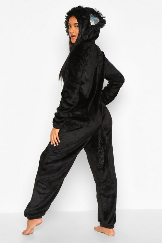 Halloween Black Cat Fleece Onesie