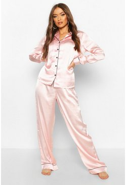 Rose gold Satin Button Through PJ Trouser Set