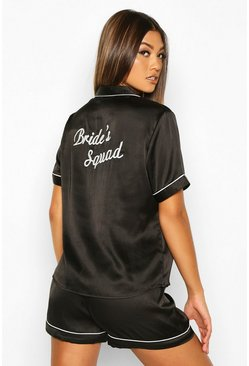 Dam Black 'Bride Squad' Satin PJ Short Set