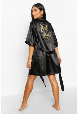Womens Black 'Bride Squad' Metallic Embroidered Robe