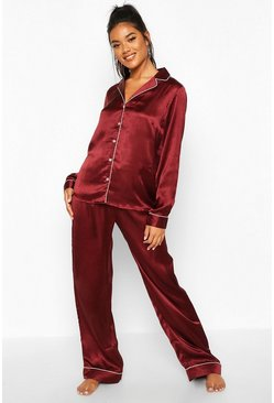 Womens Plum Satin Button Through PJ Set