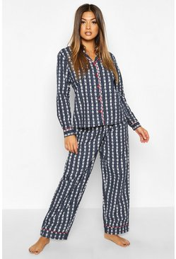 Dam Navy Fairisle Printed Brused PJ Trouser Set