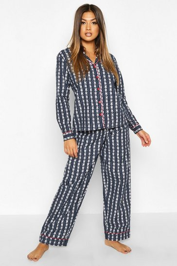 Womens Navy Fairisle Printed Brused PJ Trouser Set
