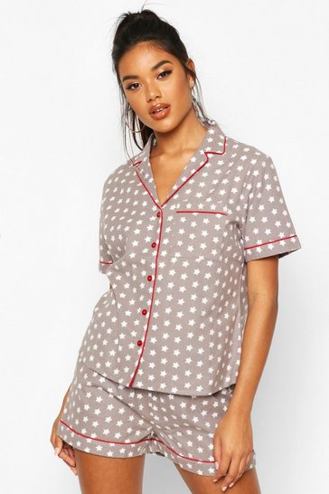 Womens Grey Brushed Star Print Short Sleeve PJ Set