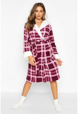 Dam Berry Soft Fleece Check Dressing Gown