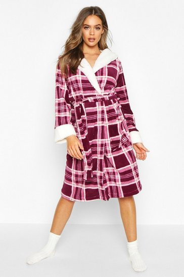 Womens Berry Soft Fleece Check Dressing Gown