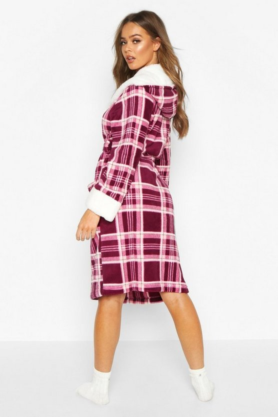 Soft Fleece Check Dressing Gown
