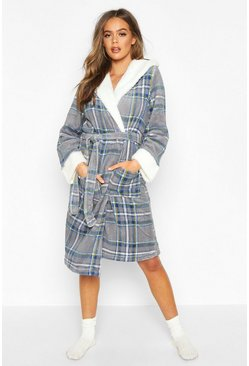 Womens Grey Soft Fleece Check Dressing Gown