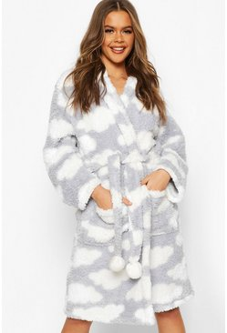 Womens Silver Soft Fleece Cloud Print Dressing Gown
