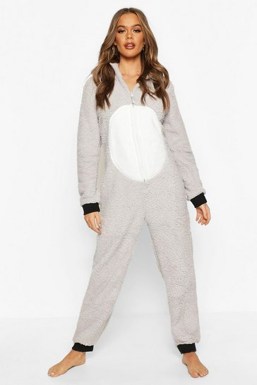 Womens Grey Koala Soft Fleece Onesie