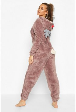 Womens Taupe Reindeer Fleece Onesie