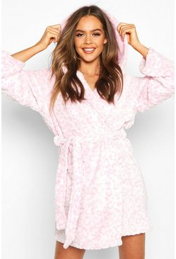 Womens Blush Soft Leopard Jacquard Fleece Dressing Gown