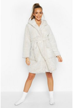 Womens Cream Super Soft Fleece Hooded Dressing Gown