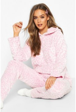 Womens Blush Soft Fleece Leopard Pyjama Set