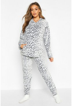 Dam Grey Soft Fleece Leopard Pyjama Set