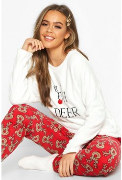 Pyjama-Set aus weichem Fleece mit Deer-Slogan, Rot, Damen