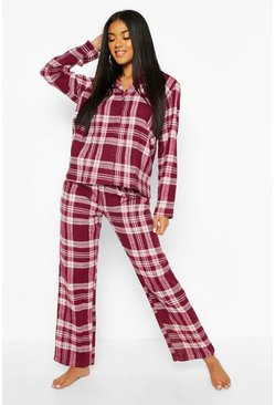 Womens Berry Brushed Check Button Through PJ Trouser Set