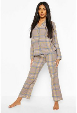 Navy Brushed Check Button Through PJ Trouser Set