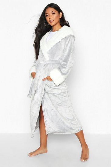 Grey Luxury Soft Fleece Longline Dressing Gown