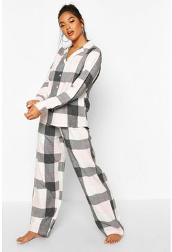 Rose pink Brushed Check Button Through PJ Trouser Set