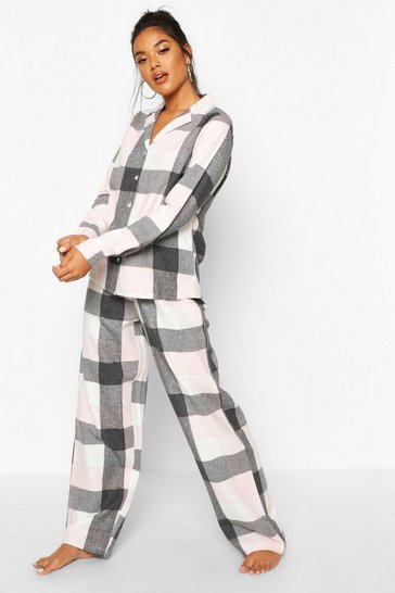 Womens Rose pink Brushed Check Button Through PJ Trouser Set