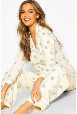 Womens Ecru Flannel Star Print Button Through PJ Trouser Set
