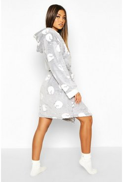 Womens Grey Soft Fleece Sheep Print Hooded Dressing Gown